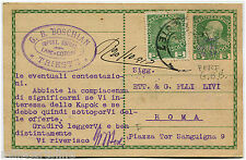 AUSTRIA EMPIRE, POSTAL CARD 5 HELLER FROM TRIESTE (1913) + PUNCHED STAMP 5H    m