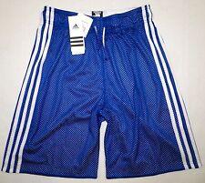 NWT ADIDAS Womens Athletic Mesh Basketball Shorts Royal Blue 3 Stripe White XS