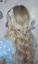 Ivory Draping Dangle Pearls Vintage Back Hair Clips Choochie Bridal Great Gatsby