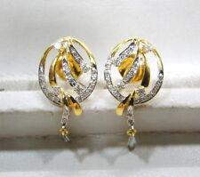 Stud Earring Pair Rajasthan India 14 Carat Solid Gold Diamond Gemstone