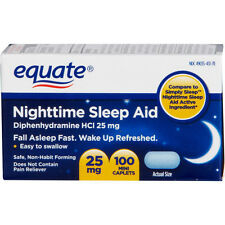 Nighttime Sleep Aid 25 mg, 100 Mini-Caplets - Equate sleeping pills night time
