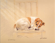 JACK RUSSELL TERRIER JRT DOG LIMITED EDITION PRINT  # 11/850 - Laying On a Chair