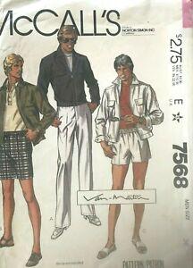 1980's VTG McCall's Men's Jacket,Pants,Shorts Pattern 7568 Size 36 UNCUT