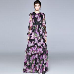 Womens Chiffon Long Sleeve Crew Neck Floral Printed Multi-layer Long Cake Dress