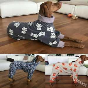 Winter Warm High Collar Pet Dog Print Coat Four Legged Suit Jacket Puppy Clothes