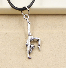 1pcs Silver Pendant gymnastics sporter Necklace Choker Charm Black Leather Cord