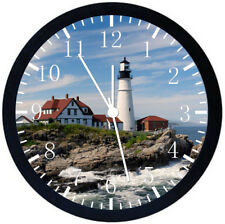 Light House Lighthouse Black Frame Wall Clock Nice For Decor or Gifts E107