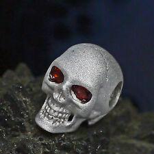 dr. skull Ketten Anhänger 925 Silber matt Granat Augen Totenkopf Biker Gothic 03