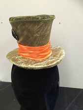Mad Hatter's green tea party hat fancy dress velour and satin hard hat dress ups