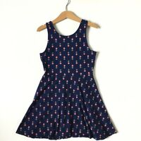 Old Navy Girls Dress Sleeveless Cotton Pineapple Print Blue Fit Flare Size M 8