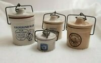 Lot 4 Crock Jars w/lids Kauauna Klub Cheese & Watkins Honey Mustard