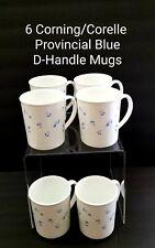 6 Vintage Corning Corelle PROVINCAL BLUE D-Handle Coffee Mugs Blue Flowers