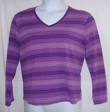 Great Northwest Clothing Co Size XL Purple Striped V-Neck Top