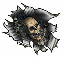 CLASSIC Ripped Open Carbon Fibre Rip Evil Gothic Skull Inside Vinyl car sticker
