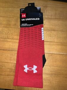 New XLG 13-16 Under Armour Unrivaled Basketball Gym Crew Socks 1 Pair Mens Red