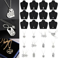 Tag Mother Father Daughter Son Stainless Steel Engraved Letters Pendant Necklace
