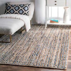 Rug 100% Natural Denim Jute Rug Handmade area carpet rustic look modern rugs