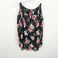 White House Black Market Floral Print Cold Shoulder Blouse Keyhole Womens XS
