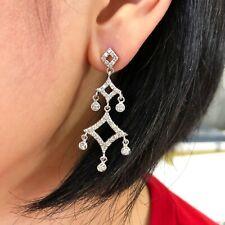 14K WHITE GOLD DIAMONDS CHANDELIER EARRINGS