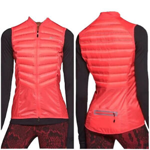 Nike Aeroloft Women's Goose Down Insulated Reflective Vest Neon Coral Sz Small