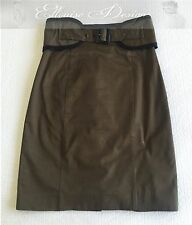 CUE! HIGH WAIST BELT KHAKI BLACK PENCIL FITTED WORK BODY CON DRESS SKIRT SIZE 6