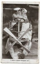 Romantic Couple in a mock plane vintage Real Photo Postcard
