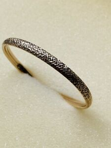 9 ct Yellow Gold Bangle With Textured Finish & Concealed Clasp, 5.4 g, not Scrap