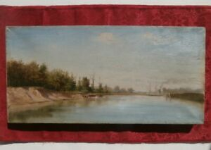 """HUDSON RIVER SCHOOL Artist OLD Uncleaned 8 x 16"""" Luminist STEAMSHIP Painting NR!"""