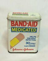 ~Vintage EMPTY Metal Band Aid Tin MEDICATED Johnson & Johnson