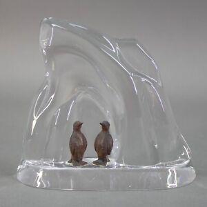 Vinardi Signed Crystal Iceberg Sculpture With Bronze Penquin Figurines Vintage