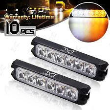 10x 6 LED Vehicle Strobe 18 Mode Flash Light Emergency Warning Lamp Amber/White