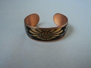 Copper Bracelet open Cuff flower power enameled inlay
