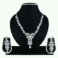 Indian Bollywood Fashion Ethnic Designer Silver Plated Necklace Earrings Set