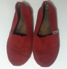 Toms Classic Shoes Girls Size Y12 Solid Red Youth Slip On Canvas Flats