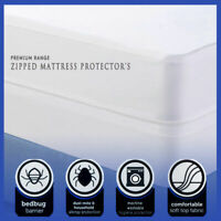 Mattress Protector Zipped 100% Cotton Poly Blend Anti Allergy Bugs Mites Treated