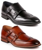 Metrocharm ML-1004 Men's Leather Double Monk Strap Slip On Loafers Dress Shoes