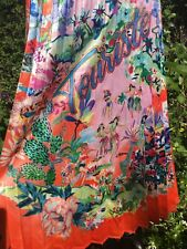H&M TREND PLEATED TROPICAL CACTI PINK RED HAWAII FLORAL ANIMAL MIDI SKIRT SIZE 8