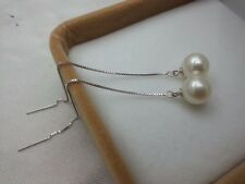 Women Sterling 925 Silver 8mm Pearl Long Chain Threader Dangler Drop Earrings