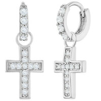 Rhodium Plated Clear CZ Dangle Religious Cross Small Hoop Huggie Earrings 0.39""