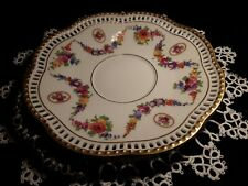 "Vintage Schumann Bavaria Pierced Rim 6"" Plate with Floral Garland *Look"