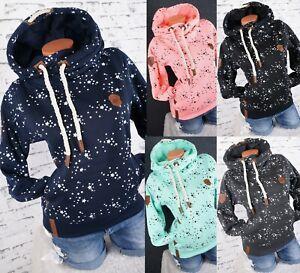 Ladies Hooded Sweatshirt Warm Fleece Jumper Hoodie Stars M L XL 2XL 3XL