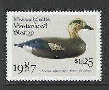 Bigjake: MA14, $1.25 American Wigeon Drake Decoy, 1987 Massachusetts