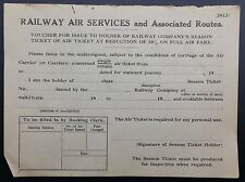 Railway Air Services & Assoc. Routes Form No 3912 For Rail Season Ticket Holders