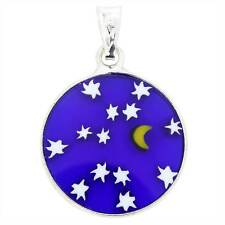 "GlassOfVenice Murano Glass Millefiori Pendant ""Starry Night"" in Silver Frame 3/4"