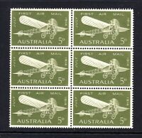 1964 - 5d OLIVE GREEN - 50th ANNIVERSARY of 1st AIR MAIL - BLOCK of 6 ***MUH***