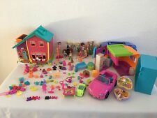 Polly Pocket Huge Job Lot including 12 Dolls ~ Music Bus ~ Magnetic House & More
