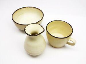 Japanese Style Ceramic Pottery Minimalist Beige K479 D.L Set Plate Mug