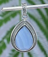 Blue lace agate gemstone design oxidized silver enhancer pendant 925 sterling