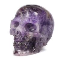 3'' Natural Amethyst Quartz Skull Specimen Reiki Healing Crystal Decor Figurine