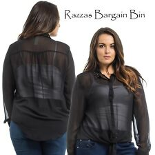 New Ladies Black Top With A Studded Collar Plus Size 14/1XL (1054)OM